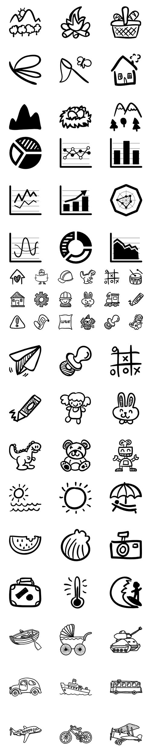 430+ Hand Drawn Detailed Vector Icons Set