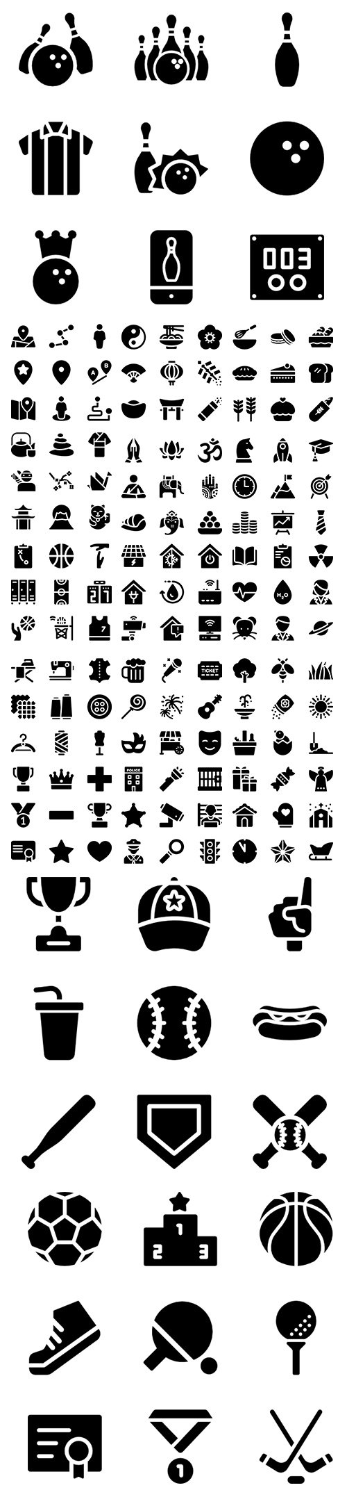 450+ Curved Fill Vector Icons Set