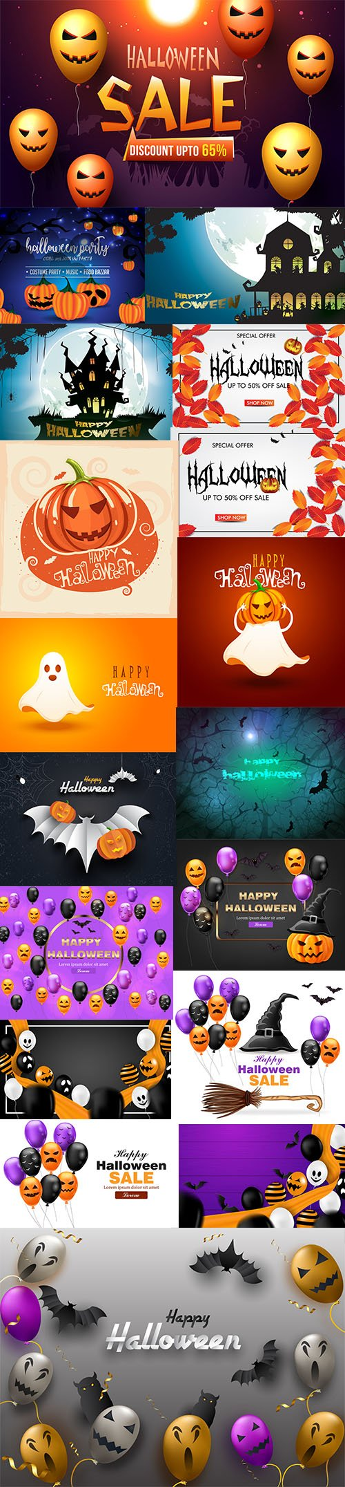 Happy Halloween Background EPS Set