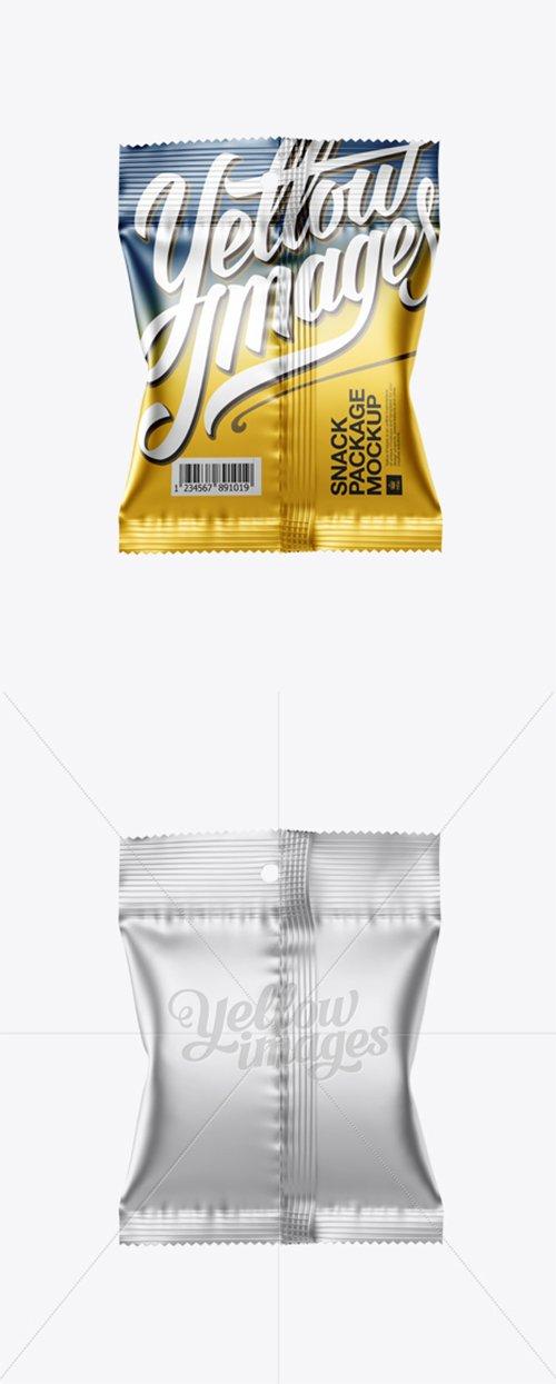 Matte Metallic Snack Package Mockup - Back View 12726 TIF