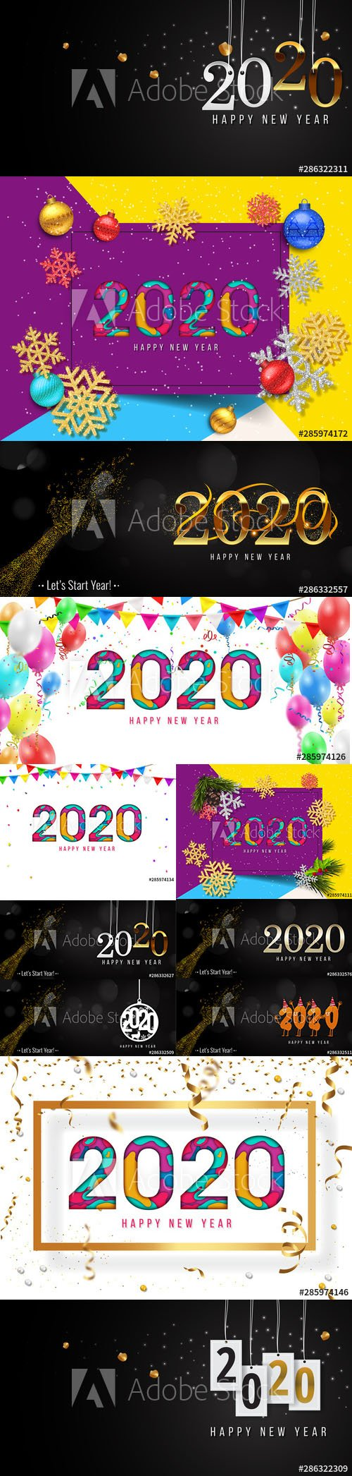 2020 Happy New Year greeting card and New Year AI background