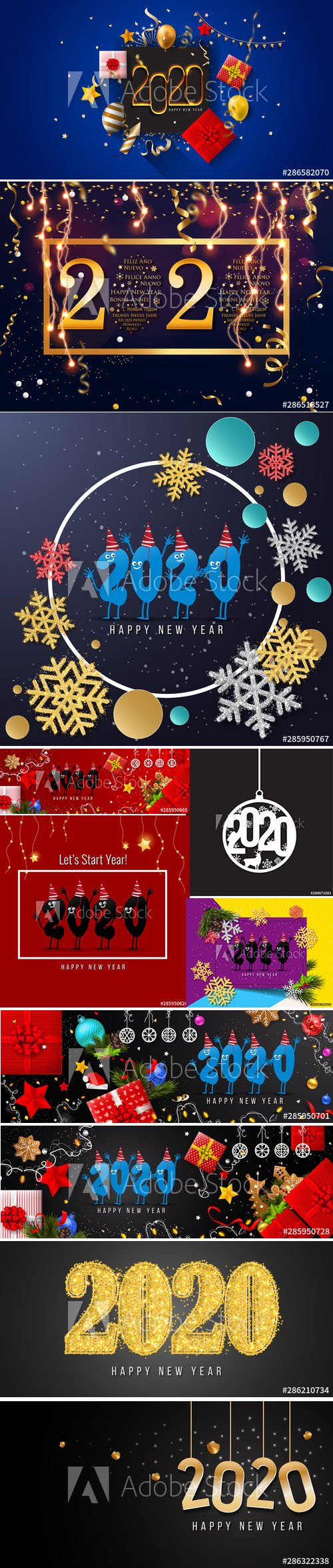 2020 Happy New Year Greeting Card and New Year AI Background vol.3
