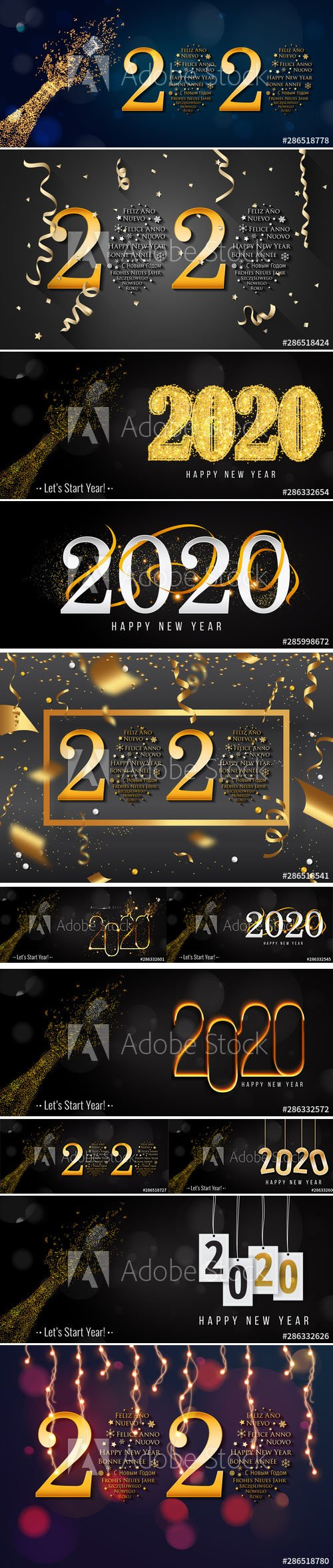 2020 Happy New Year Greeting Card and New Year AI Background vol.2