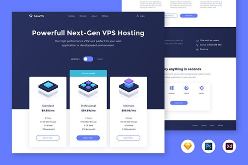 VPS Hosting Pricing Table - Landing Page Template