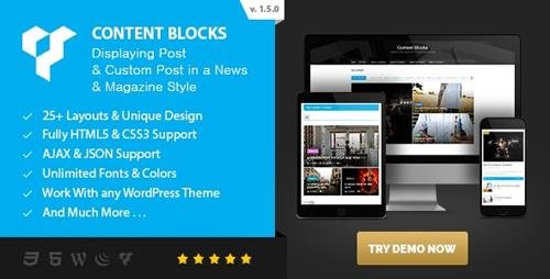 CodeCanyon - Content Blocks Layout For WPBakery Page Builder (Visual Composer) v1.5.0 - News & Magazine Style - 18866249