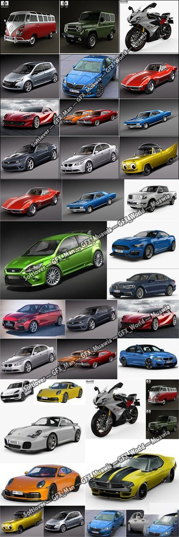24 Car 3D Model Bundle [Aug-2019]