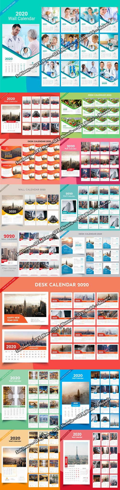 14 Calendar 2020 Templates in Vector
