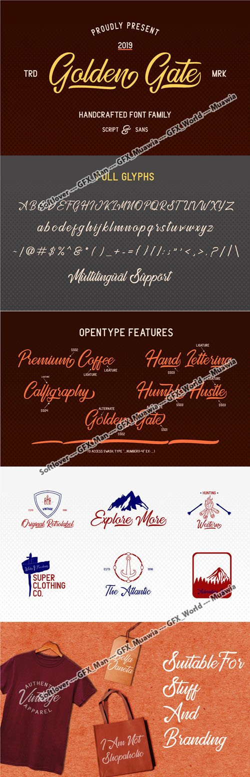 Golden Gate Handcrafted Font Family