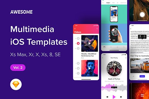 Awesome iOS UI Kit - Multimedia Vol. 2 (Sketch)