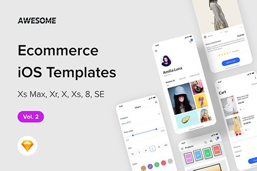 Awesome iOS UI Kit - Ecommerce Vol. 2 (Sketch)