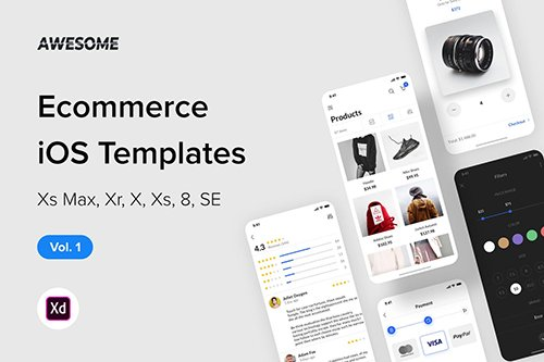 Awesome iOS UI Kit - Ecommerce Vol. 1 (Adobe XD)