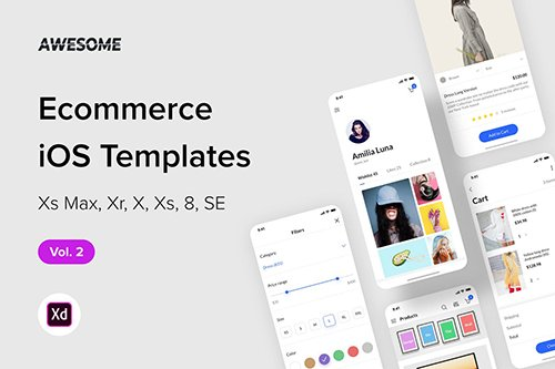 Awesome iOS UI Kit - Ecommerce Vol. 2 (Adobe XD)