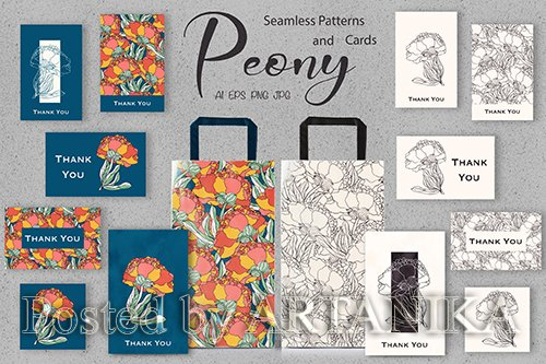 Peony Seamless Pattern and Cards