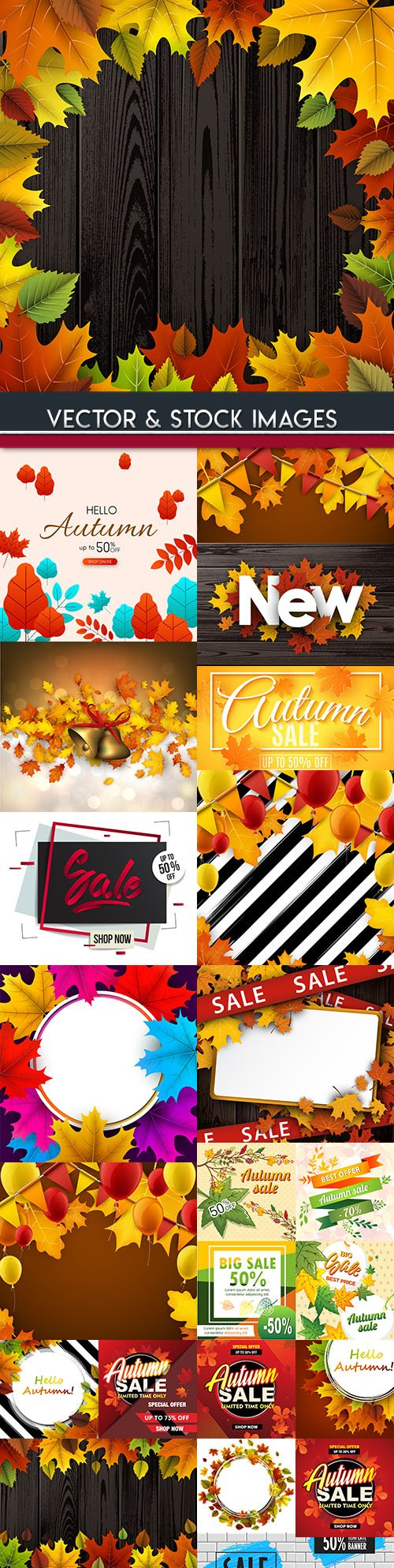 Autumn special sale and leaves wooden design background