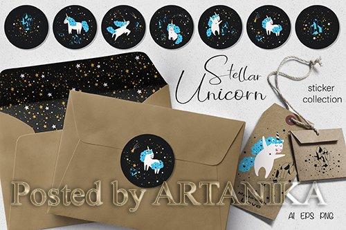 Stellar Unicorn Stickers