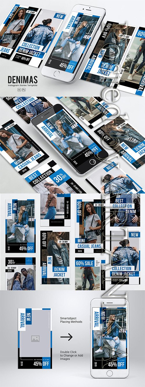 Denim Clothing Instagram Stories PSD & AI Template