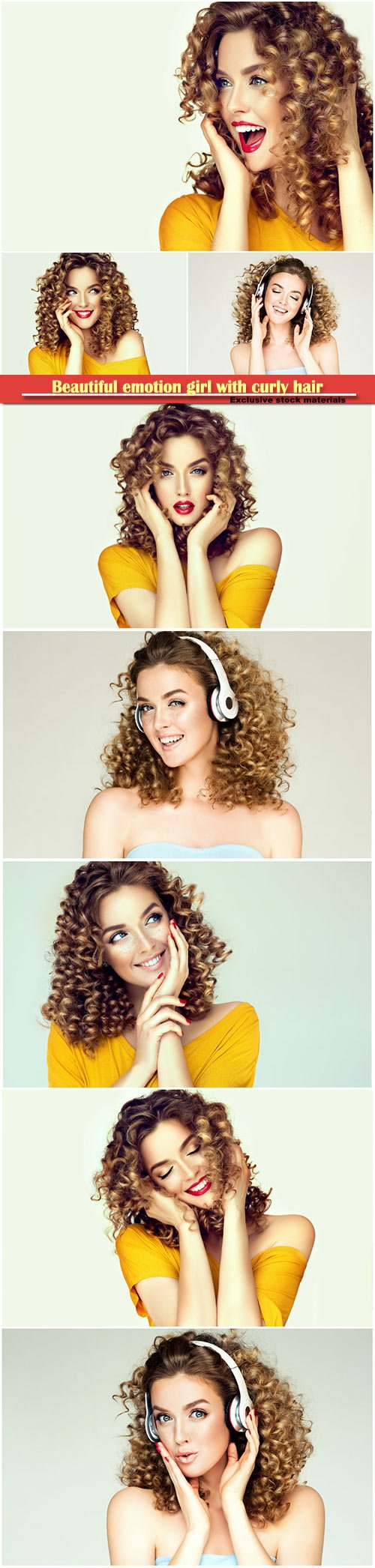 Beautiful emotion girl with curly hair