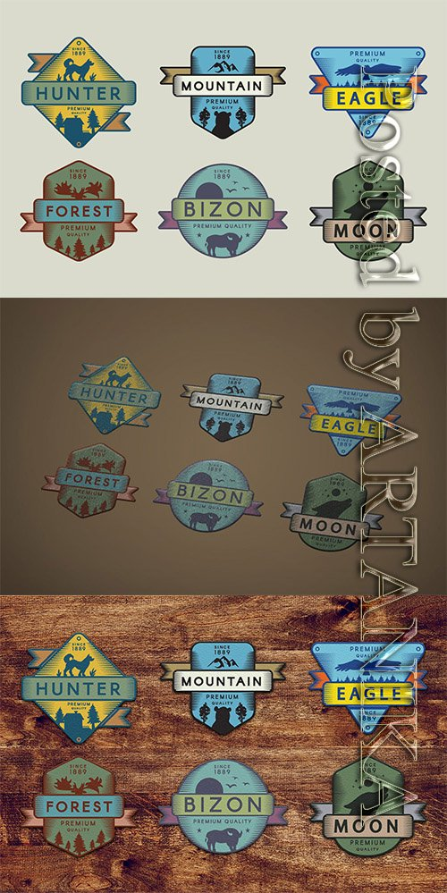 Vintage Colored Adventure Badges Pack