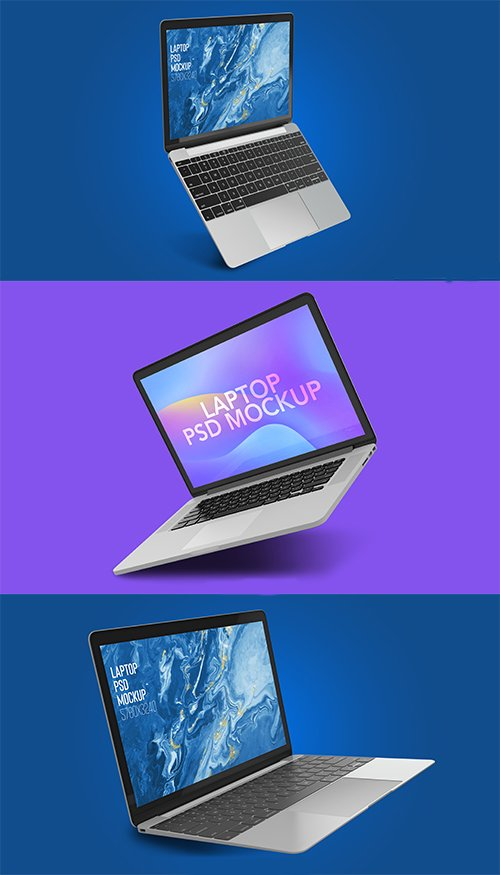 Floating Open Macbook Pro Mockup Pack