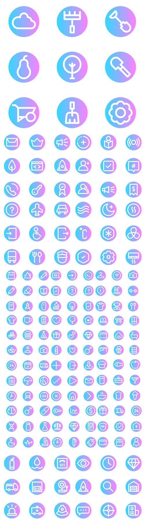 900+ Basic Rounded Circular Vector Icons Set