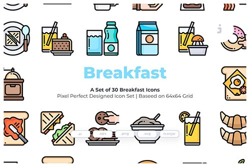 30 Breakfast Vector Icons