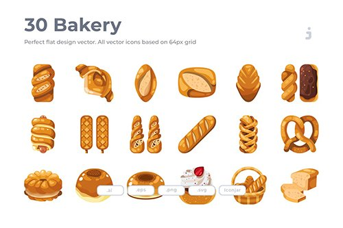 30 Bakery Vector Icons- Flat
