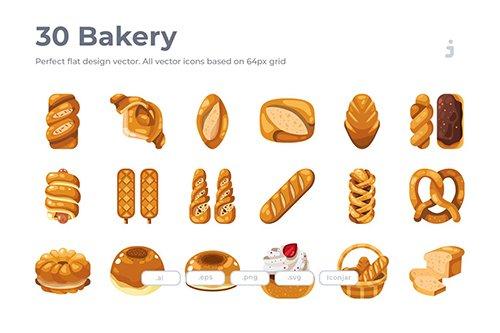 30 Bakery Vector Icons- Flat