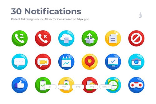 30 Notifications Vector Icons- Flat