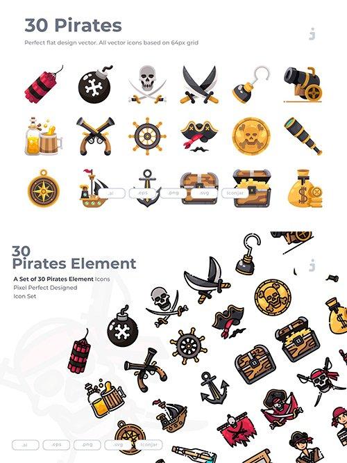 30 Pirates Element Vector Icons