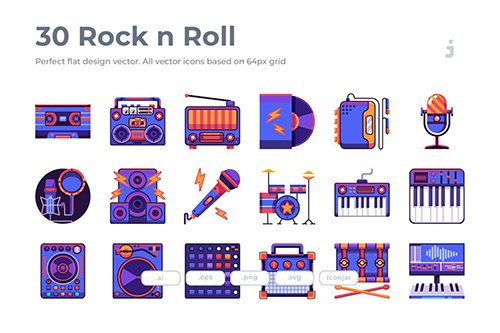 30 Rock n Roll Vector Icons - Flat
