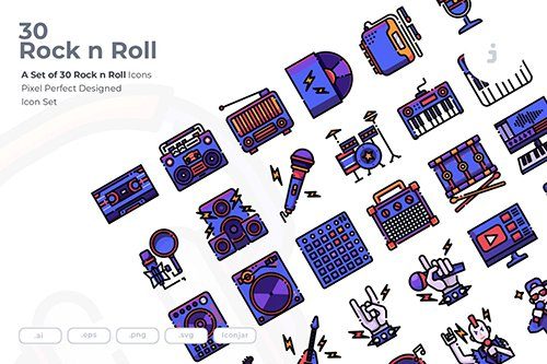 30 Rock n Roll Vector Icons