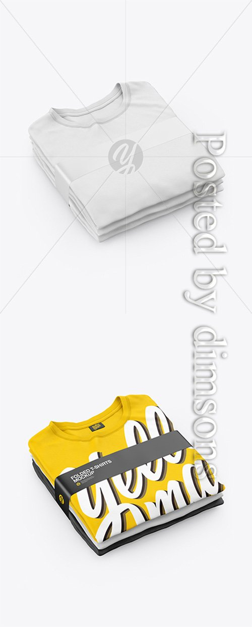 Stack of Folded T-Shirts Mockup - Half Side View (High-Angle Shot) 24076 TIF