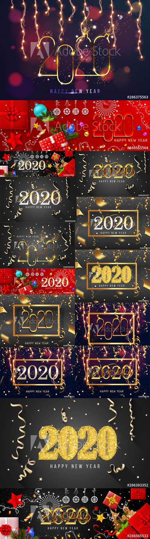 2020 Happy New Year Greeting Card and New Year AI Background vol.7