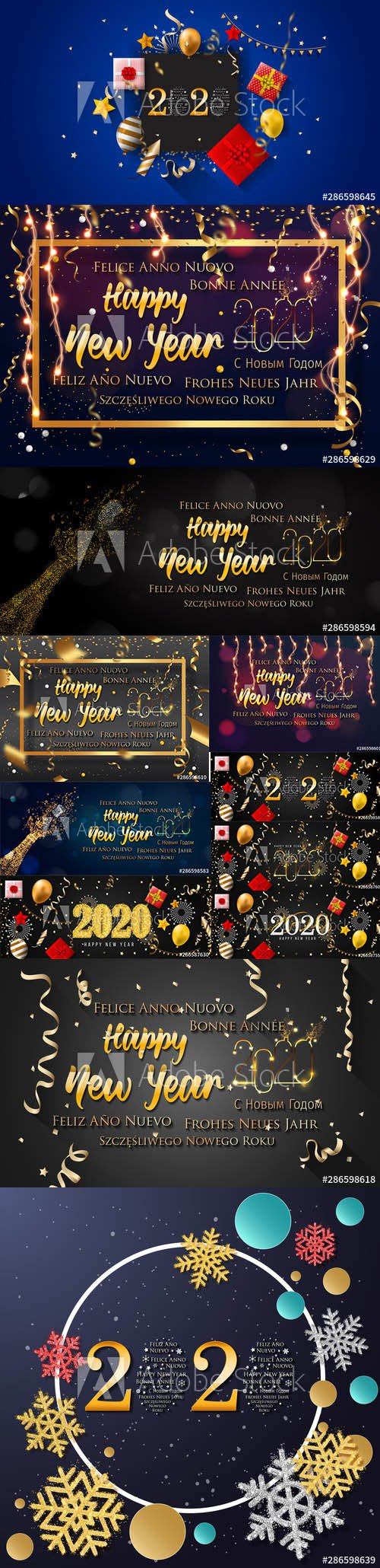 2020 Happy New Year Greeting Card and New Year AI Background vol.5