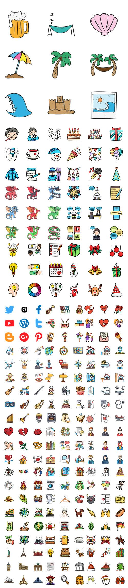 1500+ Hand Draw Color Icons Set