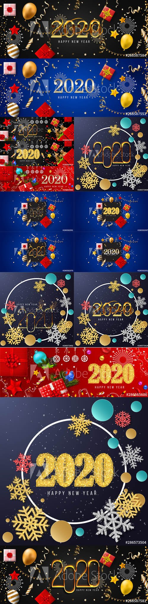2020 Happy New Year Greeting Card and New Year AI Background vol.6