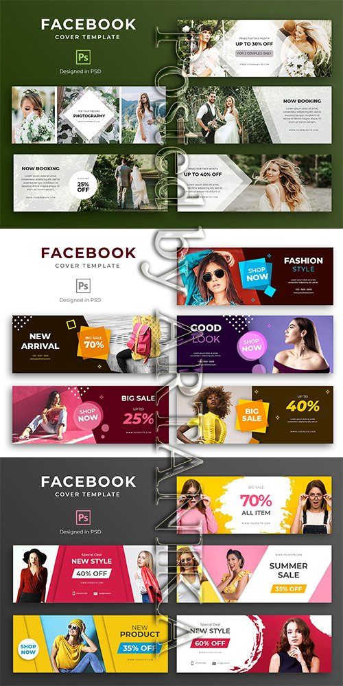 Facebook Cover Template Set vol6