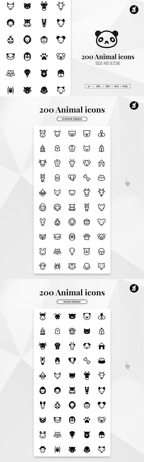 200 Animal minimal icons