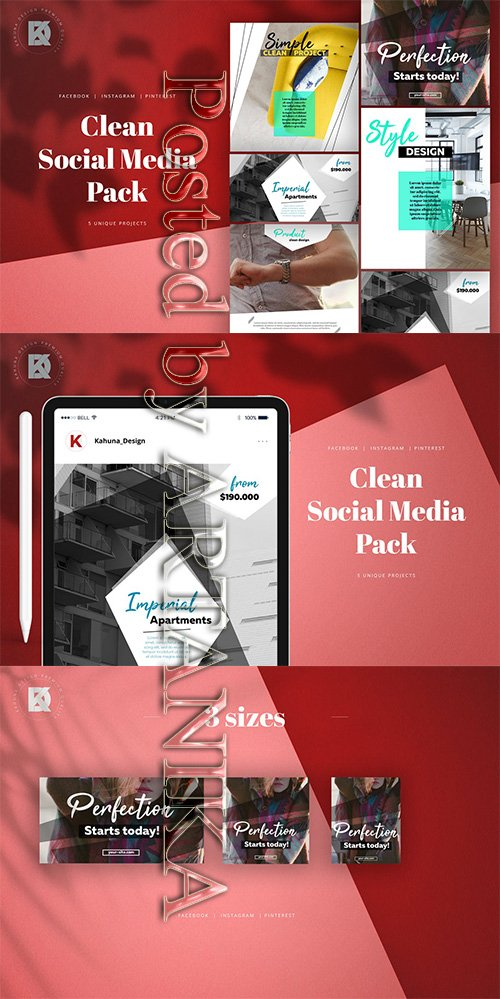 Instagram Facebook Pinterest Social Media Pack