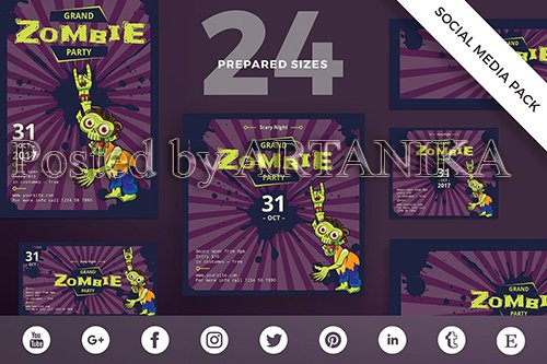 Halloween Zombie Party Social Media Pack Template