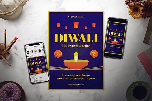 Diwali Flyer Set PSD