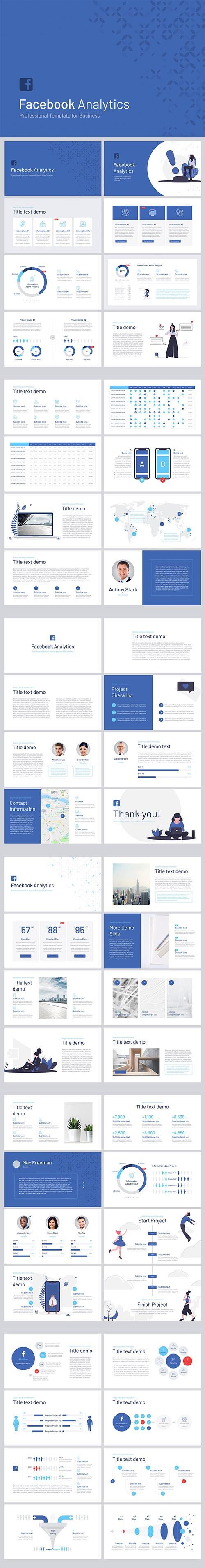Facebook Analytics for Powerpoint, Keynote and Google Slides Templates