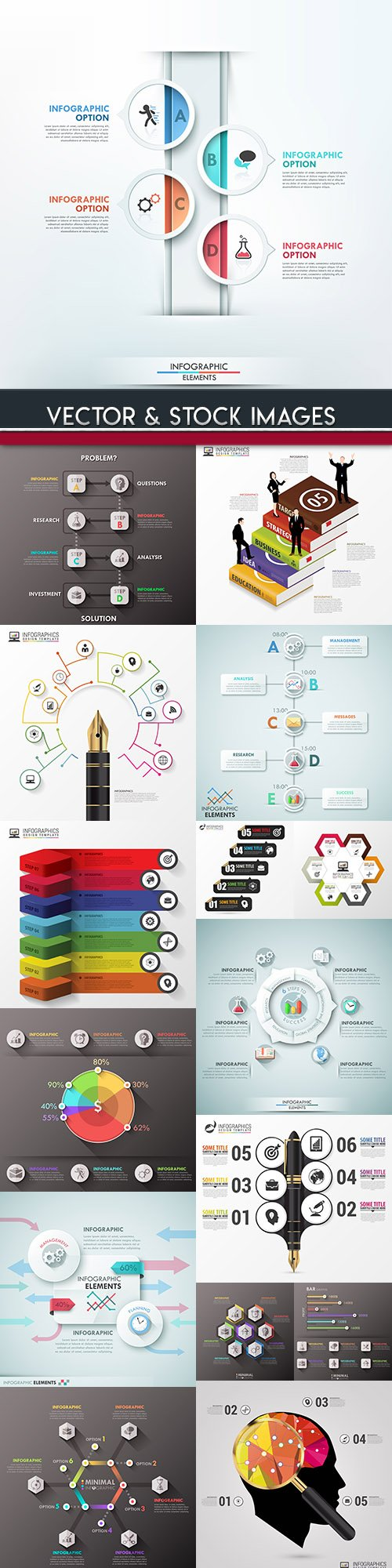 Business infographics options elements collection 91
