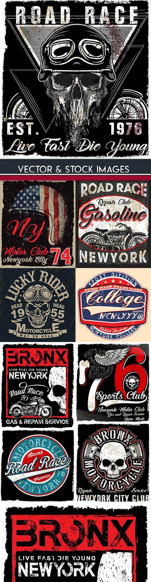Grunge skull and biker vintage design emblem