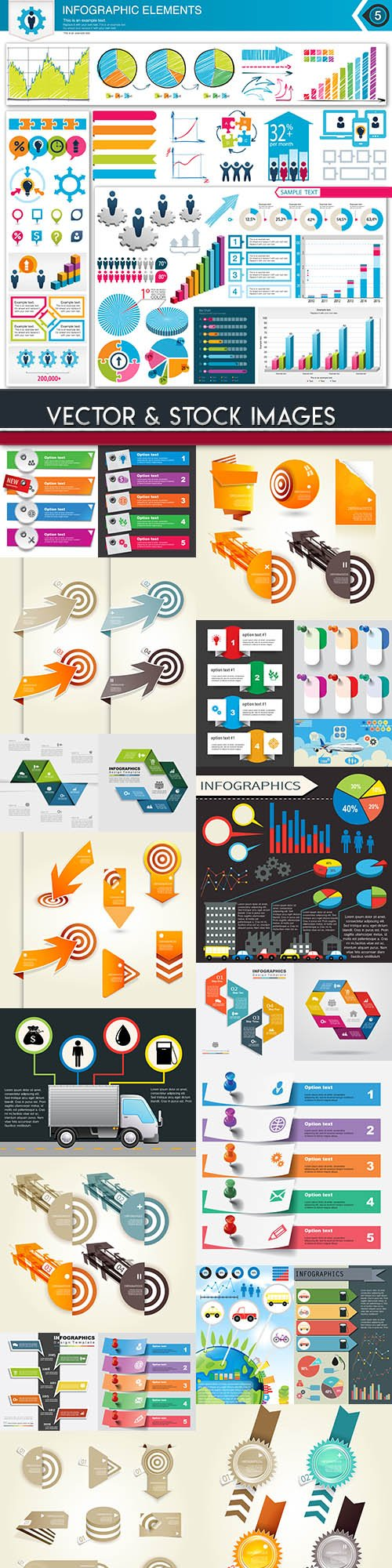 Business infographics options elements collection 92