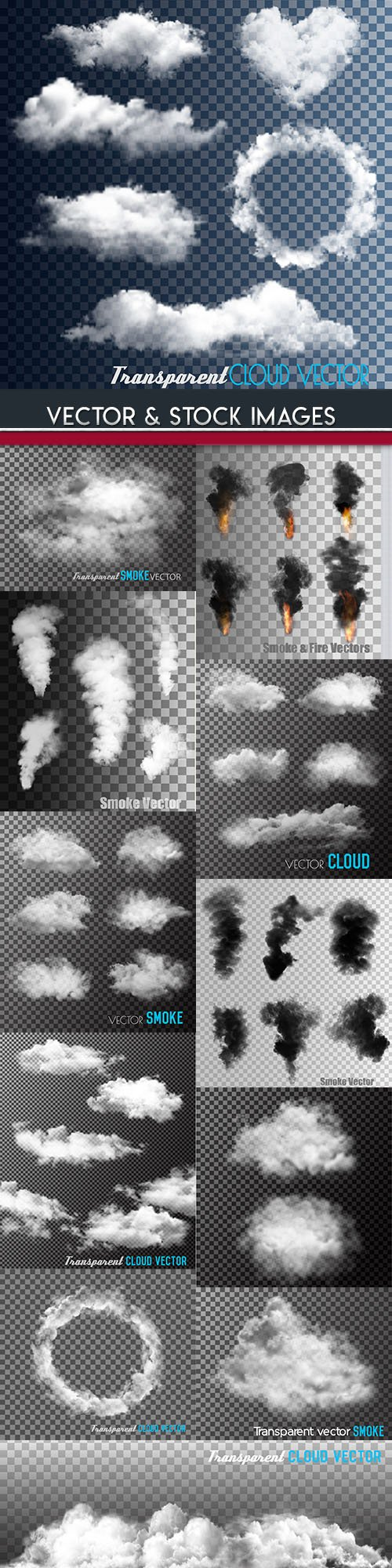 Smoke and clouds collection transparent background