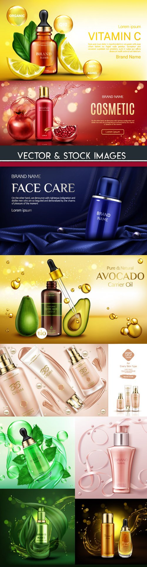 3d model cosmetics for face care design illustrations