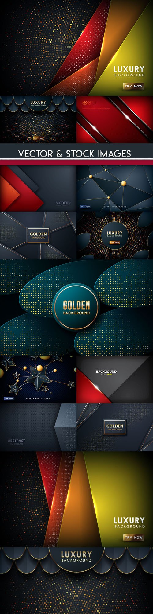 Bright light and gold abstract background collection 2