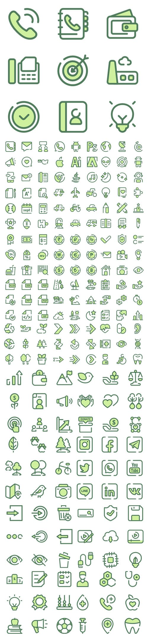 1200+ Monochrome Green Vector Icons Set