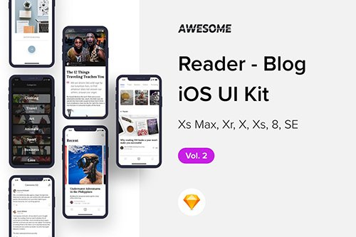 Awesome iOS UI Kit - Reader Blog Vol. 2 (Sketch)